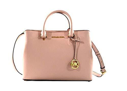 Michael Kors Savannah Saffiano Leather Large Satchel Crossbody Bag Purse Handbag (Blossom), Medium