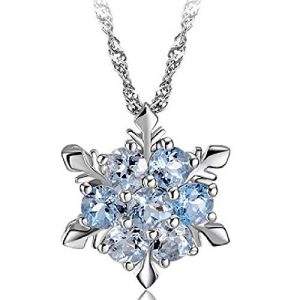 Xeminor Stockton Women Necklace Creative Hexagonal Snowflake Shape Crystal Necklace Pendant Women Clavicle Chain Jewelry Accessories
