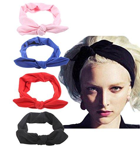 4 Pack Women Fashion Elastic Hair Band Turban Head Band Accessories Set4