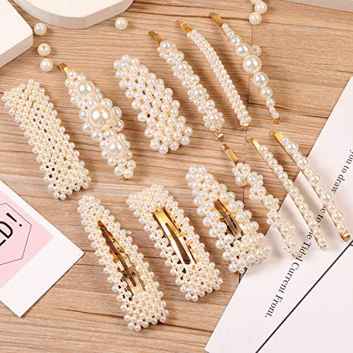 12 Pcs Pearl Hair Clips Large Hair Clips Pins Barrette Ties Hair for Women Girls, Elegant Handmade Fashion Hair Accessories Pearl Hair Clips for Party Wedding Daily