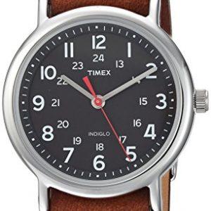 Timex Unisex TW2R63100 Weekender 38mm Brown/Black Leather Slip-Thru Strap Watch